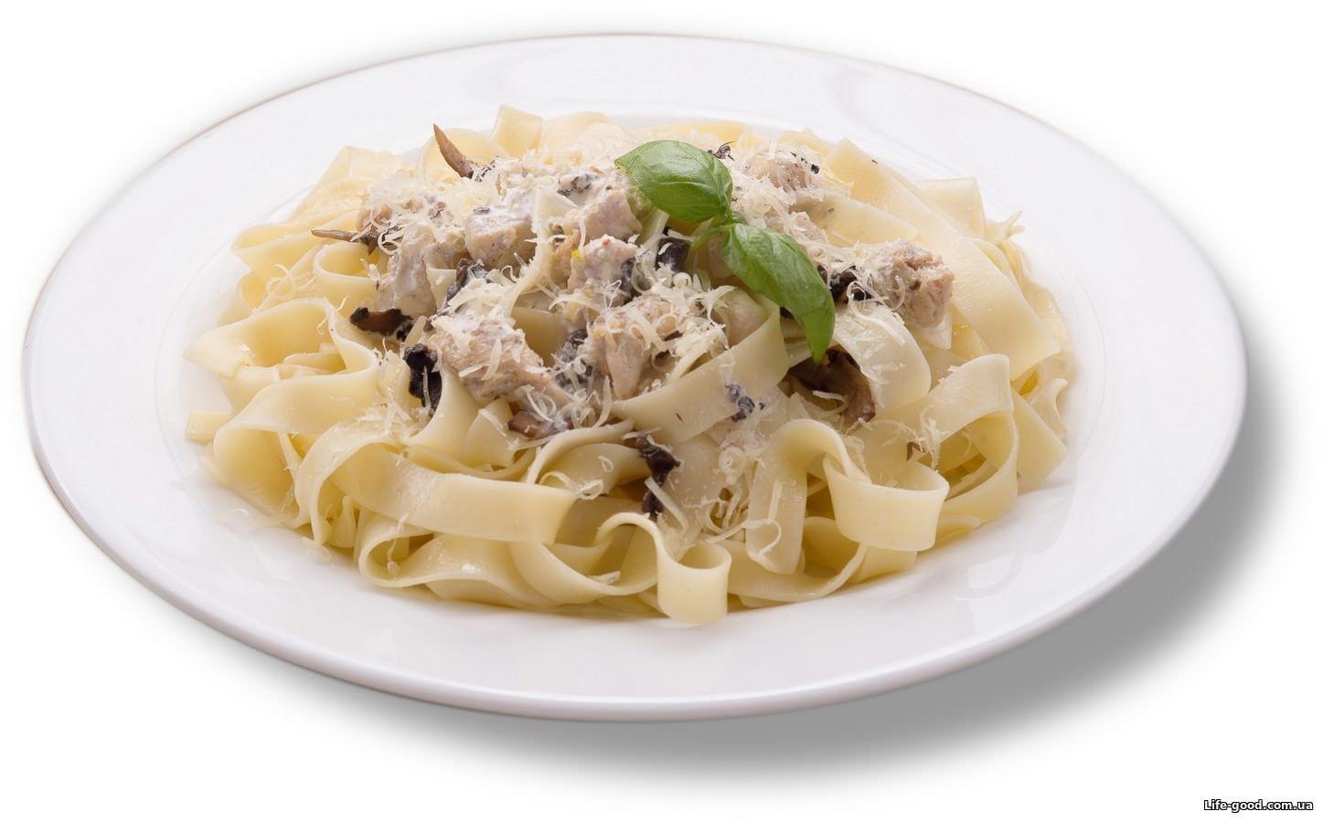 паста с грибами в сливочном соусе с курицей и грибами рецепт с фото