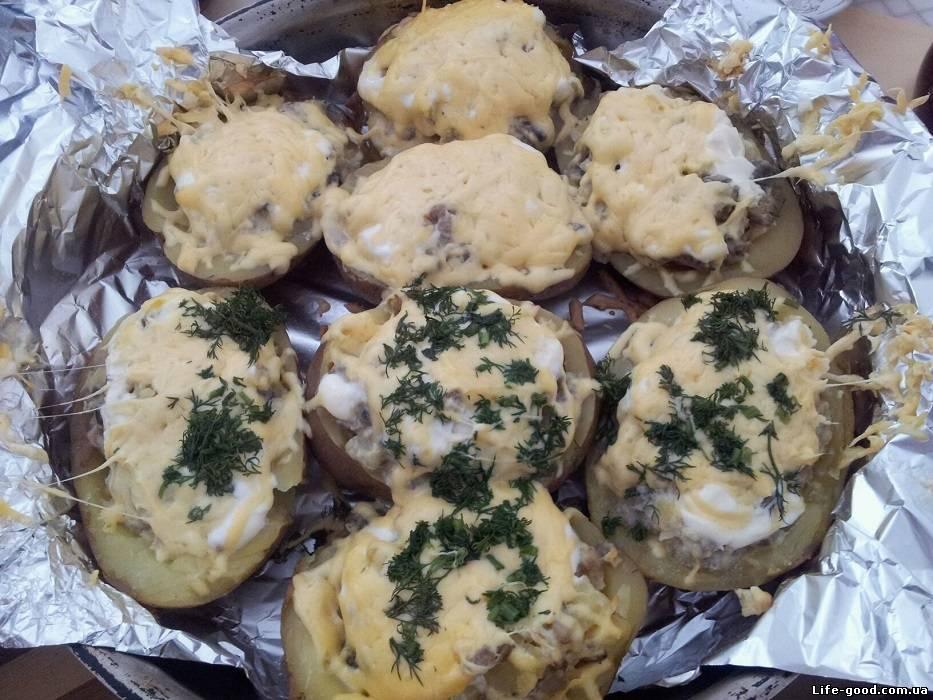 рецепт картошка с грибами в фольге в духовке рецепт
