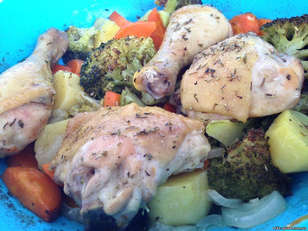 куриные окорочка с овощами в духовке рецепты
